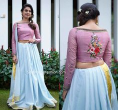 Onam Saree Blouse Collection By Label'M Saree Blouse Neck Designs, Fancy Blouse Designs, Onam Saree, Sleeves Designs For Dresses, Stylish Blouse Design, Designer Blouse Patterns, Blouse Models, Look Fashion, Saree Collection