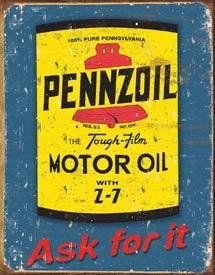 Pennzoil Motor Oil Tin Sign Measures High x Wide Old Gas Pumps, Vintage Gas Pumps, Posters Vintage, Vintage Metal Signs, Vintage Images, Old Garage, Garage Art, Advertising Signs, Vintage Advertisements