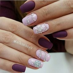 This studded purple floral design. Stud up your purple nails with flowers and white diamonds, to add amazing touch of spring and festivity to your nails.