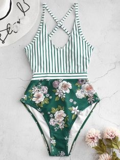 Buy ZAFUL Striped Floral Criss Cross Swimsuit in the online store - TopTrendBrand Bikini Modells, Bikini Sexy, Best Swimsuits, Women's One Piece Swimsuits, Flattering Swimsuits, Criss Cross, Cute Bathing Suits, Floral Stripe, Swimwear Fashion