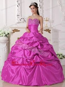 Hot Pink Ball Gown Sweetheart Floor-length Taffeta Beading Quinceanera Dress