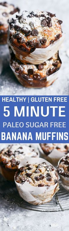 Gluten Free Paleo 5 Minute Banana Muffins Healthy Gluten Free Banana bread breakfast muffins made in 5 minutes! Easy sugar free, paleo, and grain free breakfast recipe. Muffins Sans Gluten, Paleo Banana Muffins, Dessert Sans Gluten, Gluten Free Banana Bread, Gluten Free Sweets, Paleo Sweets, Paleo Dessert, Gluten Free Baking, Healthy Baking