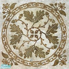 A most special floor made from many tiny pieces of light and dark brown marble. Oak branches twist throughout bearing leaves and acorns. Oak Leaf Tattoos, Leaf Stencil, Mighty Oaks, Celtic Patterns, Hawaiian Quilts, Wood Burning Patterns, Oak Leaves, Tile Art, Pyrography
