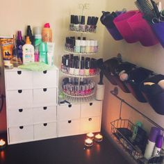 DIY Makeup storage from