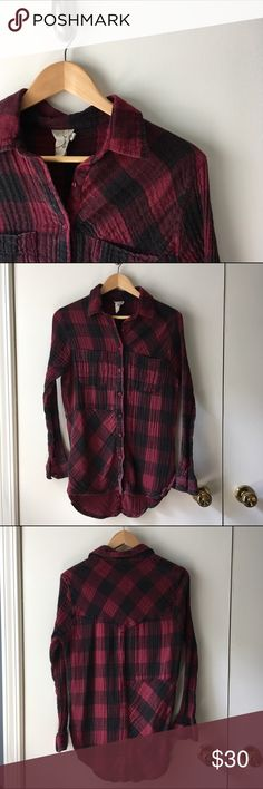 Boutique Red and Black Flannel Shirt Super cool designed distressed, warm and cozy, perfect for fall layering Boutique Tops Button Down Shirts