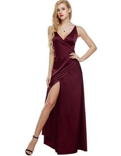 ANGVNS Women Strap Sleeveless Split Side Evening Dress Long Evening Gown, Size Large, Wine Red