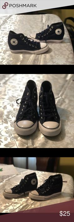 77e753e3ca3ce7 Knit Navy Converse Heel Sneaker Wedge Very Cute and comfortable heel. Can  dress up or