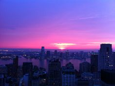 Purple sunset after the rain, purple sunset in NYC