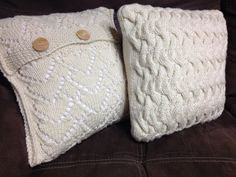Cables and Buttons knitted throw pillows by Yellow Ribbon Knits.