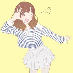 ✮ ANIME ART ✮ pretty girl. . .smile. . .wink. . .hoodie. . .sweater. . .skirt. . .star. . .cute. . .kawaii