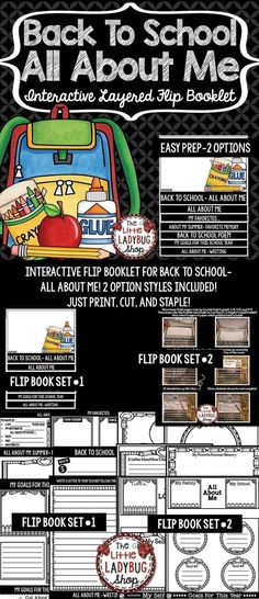 Back to School Activity: This time of the year is such a wonderful and BUSY! These ALL ABOUT ME flip booklets are the perfect way to get to know your students! Just PRINT, STAPLE, and GO with this activity! Your students will be able to complete this activity easily ALL ABOUT THEM as you get the class in order and ready to go!