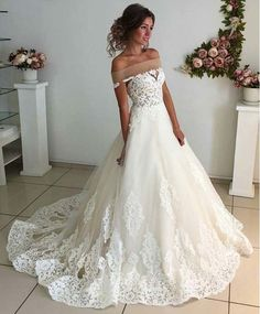 Charming Wedding Dresses,Tulle Wedding Dresses, Lace Wedding Dress,White