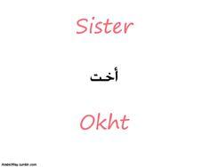 • Sister اخت Okht ~ • My sister اخـتـي Okhti ~ • Our sister اخـتـنـا Okhtuna~ • Your sister اختك Okhtuka ~ • Sisters أخـوات Akhawat~ • My sisters أخـواتـي Akhawati ~ • Our sisters أخـواتـنــا Akhawatuna~ • Your sisters أخـواتـك Akhawatuk(a)~