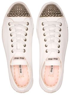 I don't even wear sneakers but these studded cap toe Miu Miu ones are adorable! New Shoes, Men's Shoes, Shoes Sneakers, Flat Shoes, Pump Shoes, Miu Miu Sneaker, Wedding Sneakers, Miu Miu Handbags, Miu Miu Shoes