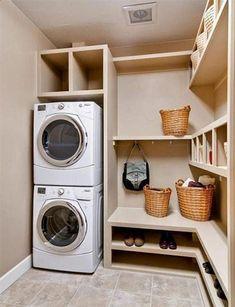 Small laundry room and mud room inspiration Swanky Design Company Laundry Room Shelves, Small Laundry Rooms, Laundry Room Organization, Laundry Room Design, Bathroom Laundry, Laundry Area, Bathrooms, Custom Bathroom Cabinets, Room Inspiration