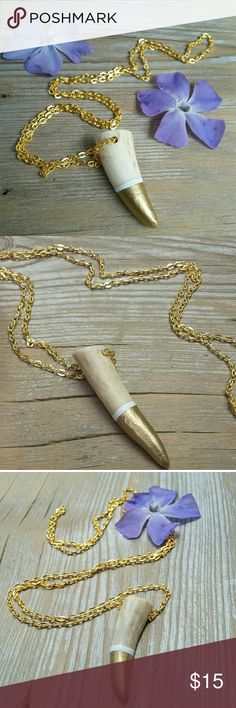"""Handmade Real Deer Antler-Tip Statement Necklace -  This is a 100 % Originally? Handmade item (not from Forever 21, tagged for exposure). - Made with real deer antler tips from antlers found naturally shed in the wild. - Hand painted design, metallic gold """"dip"""" and White ring. - Extra long golden necklace chain. Very cute and flirty, goes with almost any outfit. - There are a total of 5 of these necklaces for sale, each a little different because of the variations in each antler-tip's size…"""