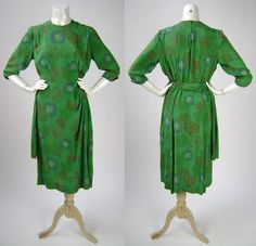 40s Day Dress - Green Silk Print