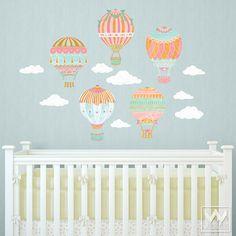 Hot Air Balloons Sky Clouds Wall Print Fabric Wall Decal Nursery Decor