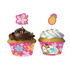 luau cupcakes - Pink Luau Fun - Cupcake Wrappers w/ Picks. SO cute for any hawaiian party!