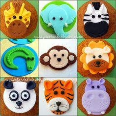 Cupcakes Fondant Toppers Jungle Animals Ideas For 2019 Cupcake Tier, Deco Cupcake, Fondant Cupcake Toppers, Fondant Cupcakes, Fun Cupcakes, Cupcake Cakes, Cup Cakes, Jungle Cake, Jungle Safari