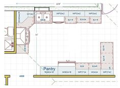 Kitchen Floor Plan No island which helps for aging in place and universal design! plan for the future of your clients. The Plan, How To Plan, Floor Plan Sketch, Aging In Place, Kitchen Floor Plans, Assisted Living, Walk In Pantry, Dining Area, Kitchen Design