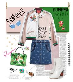"""Light Topping: Summer Bomber Jackets"" by hamaly ❤ liked on Polyvore featuring Banana Republic, Valentino, Kate Spade, Dolce&Gabbana, Kenneth Jay Lane, Sanders, Ann Demeulemeester, denimskirt, bomberjackets and waystowear"