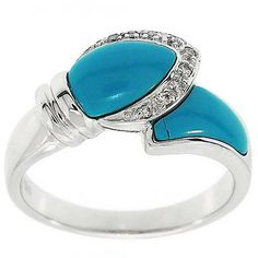 0.65 Cttw F VS Round Diamond and Turquoise Ring in 14k White Gold by GetDiamondsDirect on Etsy