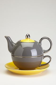 Yedi Houseware - Siena Dark Grey/Yellow Tea for One 3-Piece Set at Nordstrom Rack. Free Shipping on orders over $100.