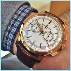 Vacheron Constantin Patrimony Traditionelle Chronograph in 18ct Rose Gold Ivory Dial on brown Alligator strap. 47192/000R-9352