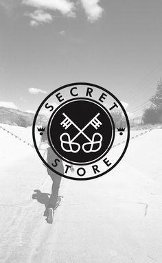 Secret Store. Fashion. Street Style. Skate. Keys. Black  White. Transparent. Illustration. Advertising. Simple. Minimal. Brand. Cool. Circle. Crown.