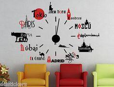 Vinilo decorativo #759# RELOJ CIUDADES DEL MUNDO stickers pegatinas
