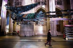 After a long journey, two huge phoenixes by the Chinese artist Xu Bing have risen above the nave of the Cathedral Church of St. John the Divine.