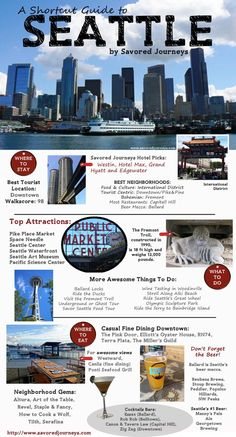 Traveling to Seattle? Check out this shortcut guide to Seattle, Washington, including top places to stay, things to do and where to eat and drink. Oh The Places You'll Go, Places To Travel, Travel Destinations, Travel Things, Holiday Destinations, Time Travel, Seattle Vacation, Seattle Weekend, Visiting Seattle