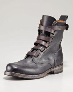True Religion Black Alternative Laceup Boot