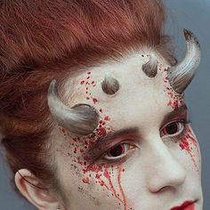 Demon horns  Pre painted Devil   Ghoulish Prosthetic  Halloween make-up