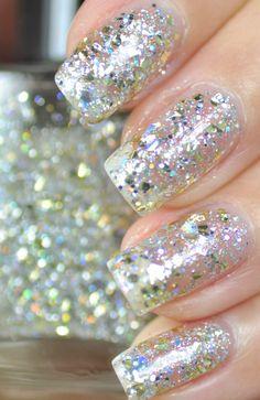 Mumbling Silver and Gold Glitter Nail Polish 15ml(.5oz). $9.25, via Etsy.