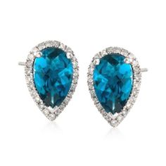 Ross-Simons - 1.90 ct. t.w. London Blue Topaz and .14 ct. t.w. Diamond Earrings in Sterling Silver - #832917