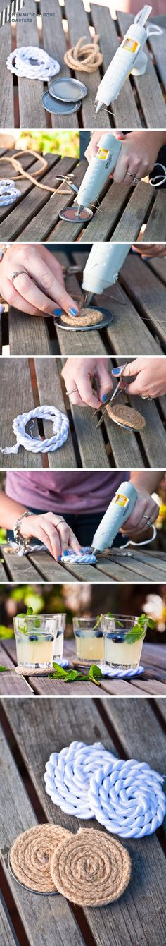 Ahoy! DIY Nautical Rope Coasters - cool tutorial for those of us that are crafty (me? not so much!)