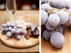 chilled grapes and chocolate, paired with grappa, by Jamie Oliver.