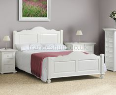 Josephine Stone White Wooden Bed Bedroom Furniture Home Decor