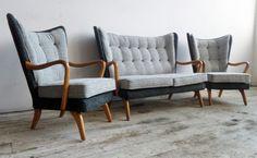 Vtg 50s Mid Century Danish Era Howard Keith Bambino Wingback Sofa & 2 Armchairs in Home, Furniture & DIY, Furniture, Sofas, Armchairs & Suites   eBay