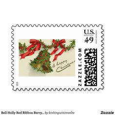 Bell Holly Red Ribbon Berry Garland Stamp
