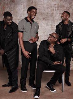 Daniel Kaluuya, Chadwick Boseman, Forest Whitaker, and Michael B Jordan Black Panther Marvel, Black Boys, Black Men, Model Tips, Black Panther Chadwick Boseman, Raining Men, My Black Is Beautiful, The Villain, Black Power