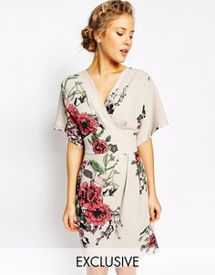 Image 1 of Closet Obi Wrap Dress With Kimono Sleeve