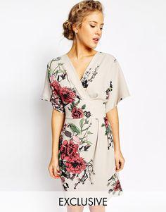 Image 1 ofCloset Obi Wrap Dress With Kimono Sleeve