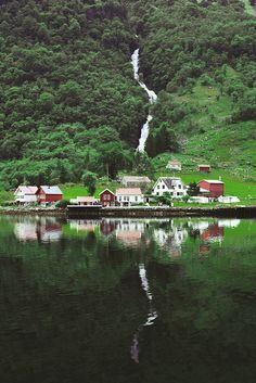 Flåm, Norway; maybe scene of where cabin can be. So just one house