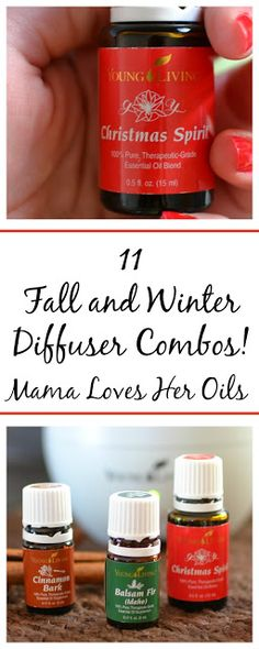 11 Fall and Winter Essential Oil Diffuser Combos You Have to Try from Mama Loves Her Oils! The blends in this post are so great for the diffuser! They make you want to put on some slippers, bake cookies and drink hot chocolate!