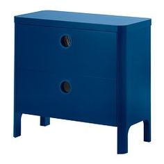 IKEA - BUSUNGE, Chest of 2 drawers, , Comes with 2 drawers for a roomy storage space.The cutout handles have a transparent plastic base, so they keep out dust and dirt but still give a glimpse of what's inside.Drawer stop; prevents drawers from being pulled out fully and falling down.