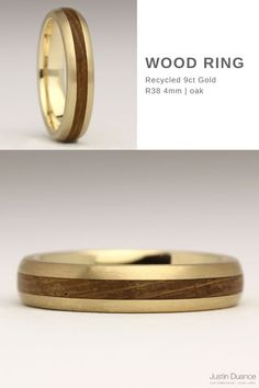 This wood ring is made in 9ct yellow gold and is slim and unobtrusive. It's very comfortable to wear as it's quite subtle, but the metal harmonises beautifully with the wood. This ring is inlaid with Oak, which traditionally symbolises strength and endurance.We are more than happy to inlay this ring with another type of wood – the price won't be changed to do so. Wood Inlay Rings, Wood Rings, Gold Wood, Contemporary Jewellery, Precious Metals, Strength, Rings For Men, Slim, Type