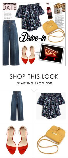 """""""Summer Date: The Drive-In"""" by helenevlacho ❤ liked on Polyvore featuring RED Valentino, J.Crew, Zara, Harry & David, DateNight, contestentry, drivein and summerdate"""